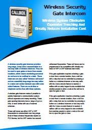 Wireless Security Gate Intercom Application Bulletin